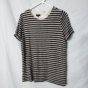 Women's Talbots Black White Sequin Striped Casual